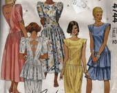 Womens 1980's Sewing Pattern McCall's 4744 Dropped Waist Dress Size 12 Bust 34""