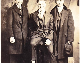 Old Photograph Postcard Three Young Men Posing Vintage Photo Paper Ephemera Snapshot Photo Collectibles