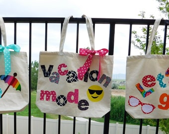 Fun large vacation tote -  Funky bag with appliques, Vacation Mode, Beach, Let's Go- fun beach bag, travel tote, purse, diaper bag