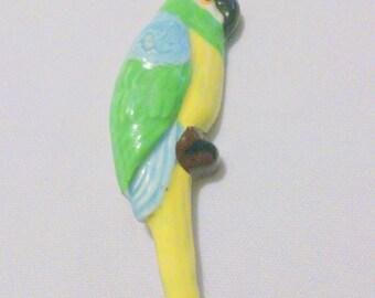 Vintage Painted Ceramic Parrot Bird Brooch