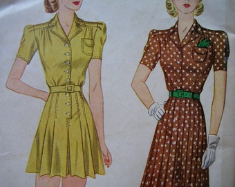 Fabulous Vintage 30's PLAYSUIT And SKIRT COVERUP Misses Pattern Factory Folded