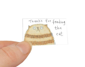 Miniature Cat Card and Tiny Envelope, Thanks For Feeding the Cat Card, Ginger Tabby Cat Card, Cat Thank You Card, Poosac