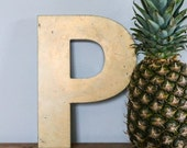 SALE Vintage Shop letter P, antique signage