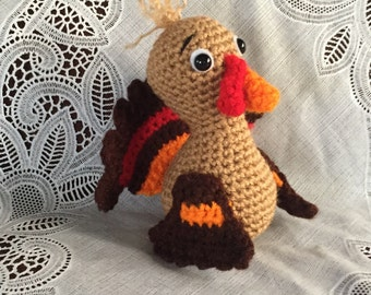 Turkey Stuffed Animal - made to order - hand crocheted - Thanksgiving decor