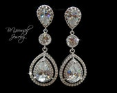 White Crystal Bridal Earrings Cubic Zirconia Teardrop Bride Earrings Statement Wedding Earrings CZ Bridesmaid Gift Sterling Silver Jewelry