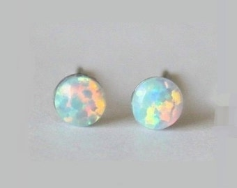 Tiny 4mm Fire Opal Stud earrings, hypoallergenic Titanium Earrings, white Opal post studs, opal gemstone, sensitive ears, Small opal earring