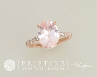 Blush Pink Peach Sapphire Over 3cts Engagement Ring Rose Gold Diamond Accented Ring Blake Lively Engagement Ring