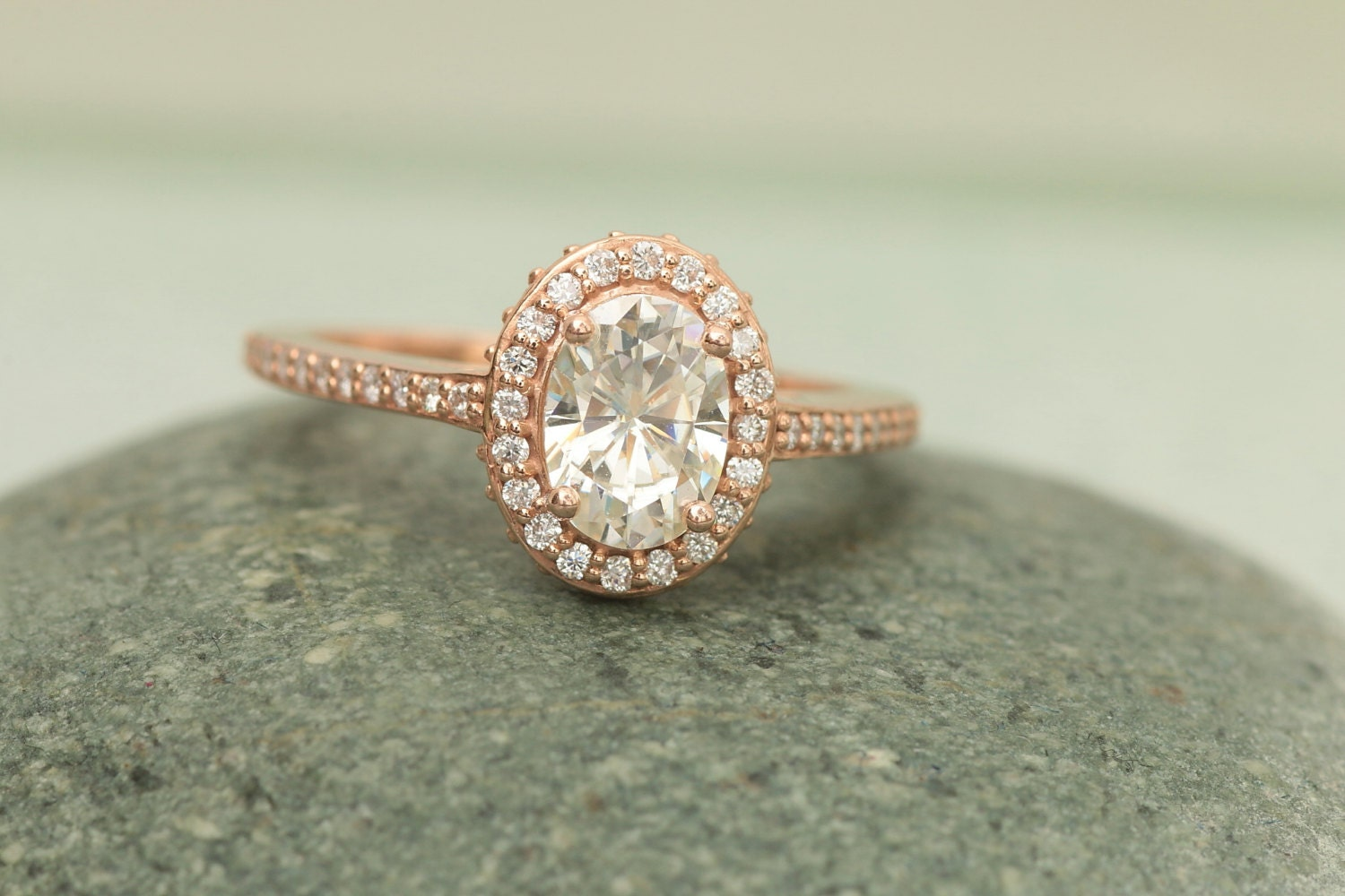 SALE Moissanite Rose Gold Diamond Halo Engagement Ring
