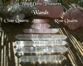 "QUARTZ WAND - Rose Quartz Wand, Clear Crystal Double Terminated, Power Generator Amplification 8""-4"" Brazil Crystal Heal Love Yoga Gemstone"