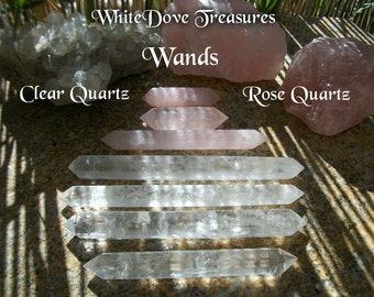 "QUARTZ WAND - Rose Quartz Wand, Clear Crystal Double Terminated, Power Generator Amplification 8""-4"" Brazil Crystal Heal Love Yoga Gemstone"