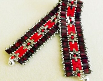 Handcrafted Red and silver bracelet - Picasso Red Tila Beads, Red half Tila, and Silver beads
