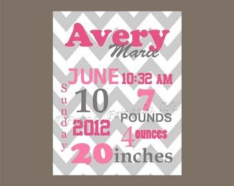 Pink Gray Chevron Birth Information Canvas Wall Art Print