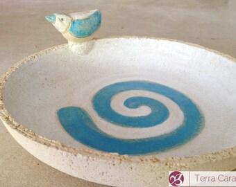 Ceramic Bird Bath with little Bird