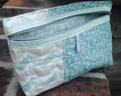 Quilted Mint Green Medium Sized Pouch