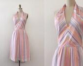 SALE / vintage 1960s dress // 60s pink striped halter dress