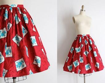 SALE vintage 1950s skirt // 50s red floral full skirt