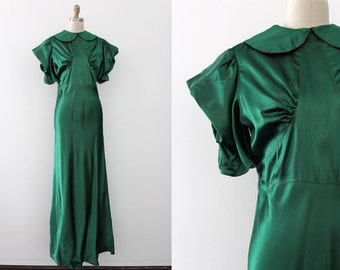 vintage 1930s gown // 30s green and pink evening gown