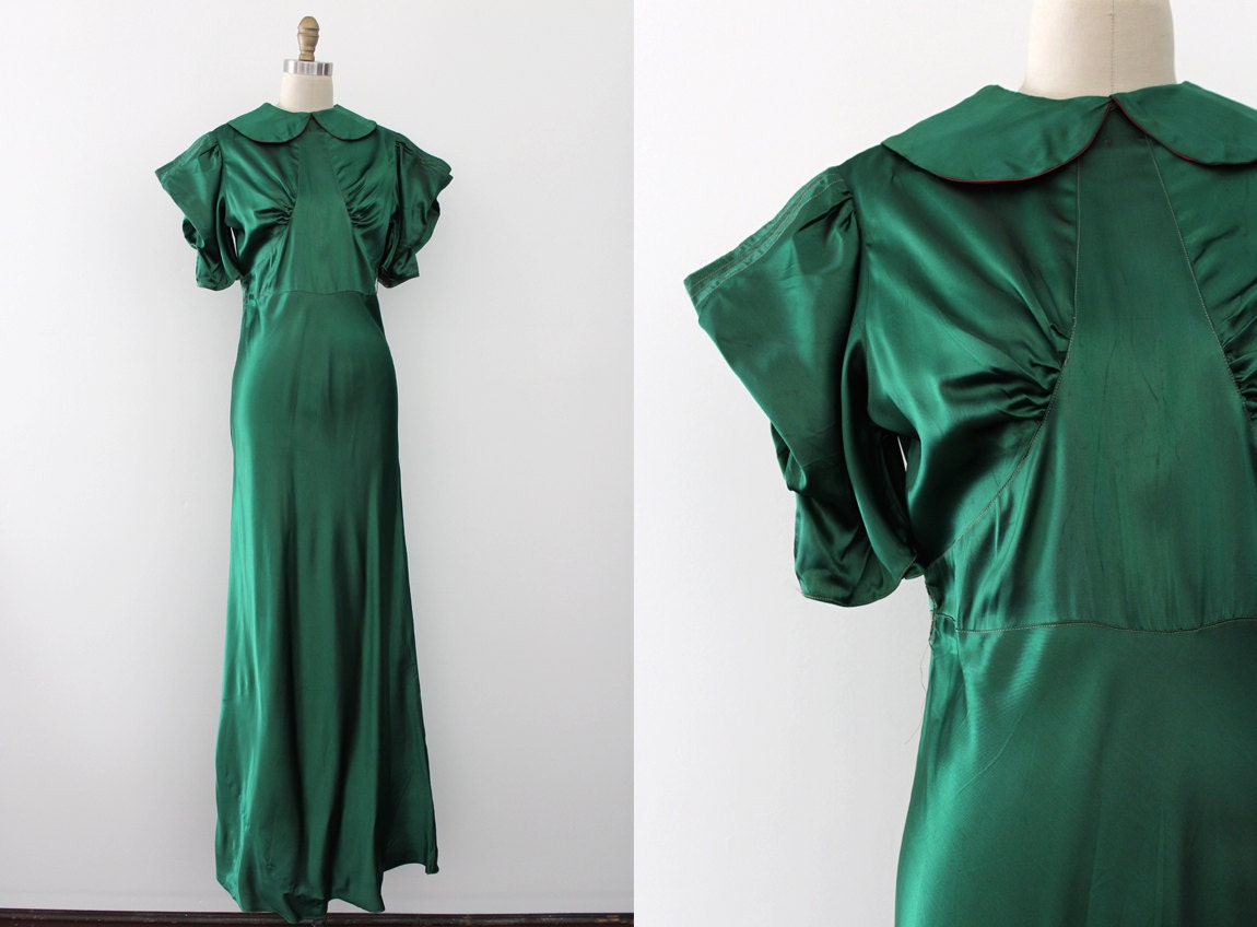 vintage 1930s gown 30s green and pink evening gown