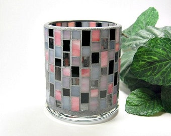 Stained glass mosaic votive candle holder grey pink black