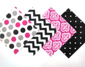 """48 Piece Flannel Rag Quilt Kit 6""""x6"""" Pre Cut Quilt Squares in Fun Black, White, Grey and Pink Chevron, Flower and Dot Prints"""