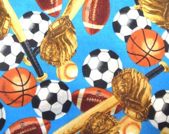 Flannel Fabric by the Yard in a Fun All Sports Multi Colored Print 1 Yard