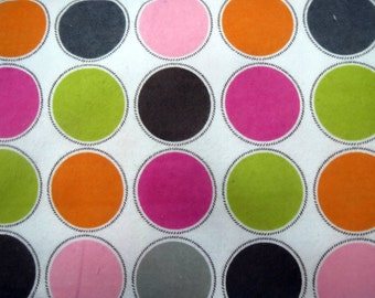Flannel Fabric by the Yard in a Multi Color Large Dot Print 1 Yard