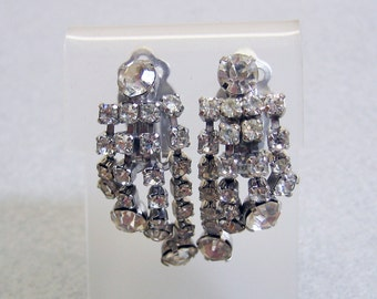 Vintage Sparking White Rhinestone  Clip On Earrings