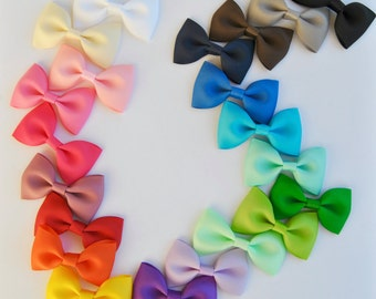Baby Hair Bow, Bow tie hair bows, 5 Hair Bows,You CHOOSE colors, 21 colors to choose from, Non-slip grip, Baby Hair Bows, Toddler Hair Bows