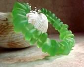 Lime Green Seaglass Bracelet, Peridot Green Beach Pebble Chunky Bracelet, Autumn Nautical Jewelry, Fall Accessory