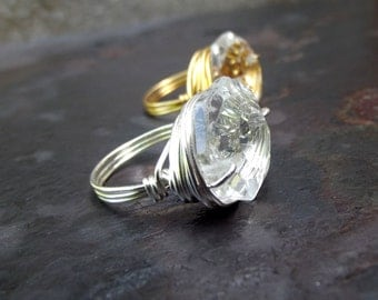 Clear Crystal Ring:  Silver or Gold Wire Wrapped Ring, Promise Ring, Engagement Ring, Repurposed Jewelry, Wedding Accessory