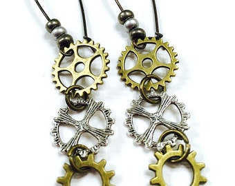 Gear Steampunk Earrings, Steampunk Jewelry