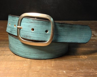 Blue Leather belt - Distressed leather belt - leather snap belt -    Handmade in USA