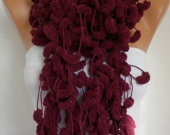 Burgundy Pompom Knit Scarf Knitting Cowl Teacher Gift Crochet Scarf Chunky Gift Ideas For Her Women Fashion Accessories - best selling item