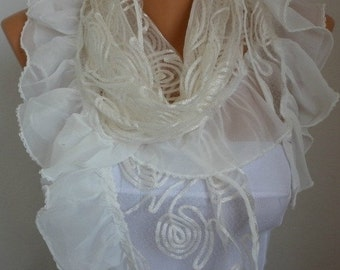 Off  White Lace Scarf Shawl Cowl Scarf  bridesmaid gifts Bridal Accessories Gift Ideas For Her Women Fashion Accessories