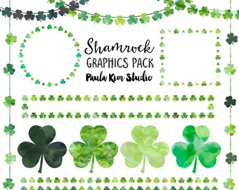 Shamrock Clip Art, Digital Download, St Patrick's Day Clipart, Commercial Use