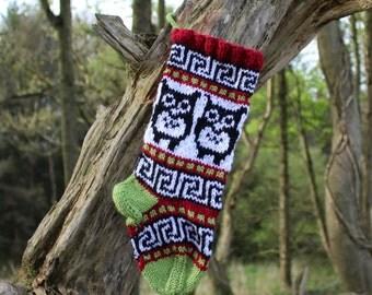 Small Santa Sock, Knit Owls Christmas stocking, Fair isle knit, Holiday Stocking, red green ornament - ready to ship RGS