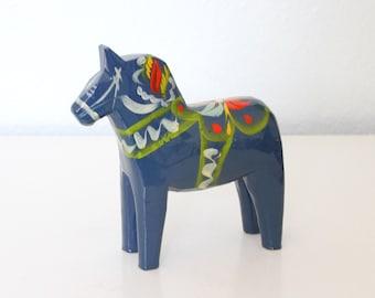 Swedish Dala Horse Blue - Hand Painted Nils Olsson Blue Dala Horse Sweden with Original Sticker