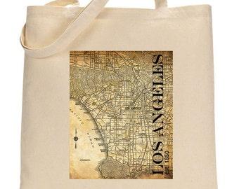 Tote Bag - Los Angeles Street Map - Vintage - Canvas Tote Bag - LA - Sepia Grunge