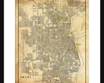 Omaha Map - Street Map Vintage Poster Print -Sepia  Grunge