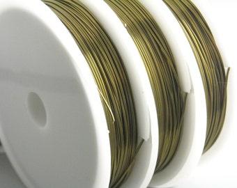 Non-tarnish coated wire, antique bronze color, 22 gauge, Round, dead soft - 1 spool