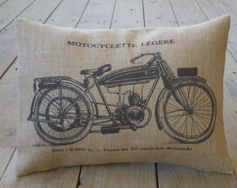 French Motorcycle Burlap Pillow, Vintage cycles, Shabby Chic, Man Cave, INSERT INCLUDED