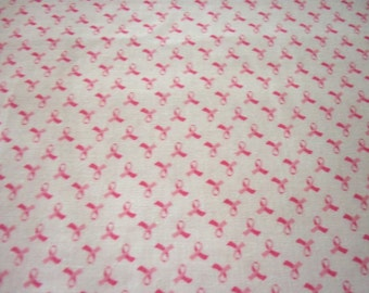 Pink Ribbon Fabric Breast Cancer Awareness Pink Background Tiny Ribbons New By The Fat Quarter BTFQ