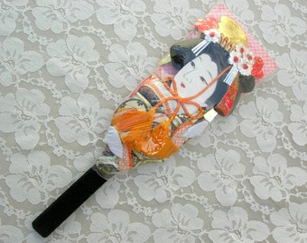 Japanese Geisha Hagoita (battledore, padded paddle), hand-crafted, hand-painted, silk brocade kimono, cherry blossoms on back