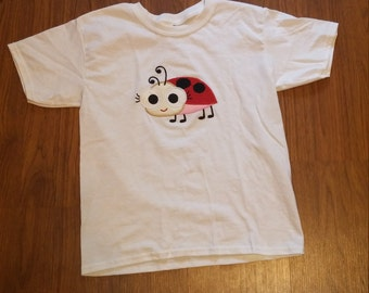 Girls T-shirt, appliqued shirt, jellyfish shirt, ladybug shirt, embroidered shirt, youth XS to youth XL