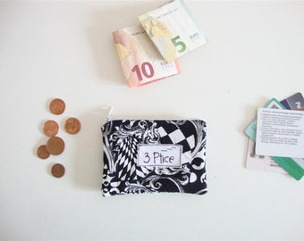 Coin Purse, Black White Zipper Pouch for Cards and Coin, Zipper Coin Purse, Mini Zipper Wallet, Eco Friendly, Made in Europe, by 3 Ptice