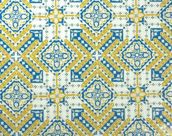 Vintage Wallpaper by the Yard 70s Retro Wallpaper - 1970s Vinyl Blue and Yellow Geometic Tile