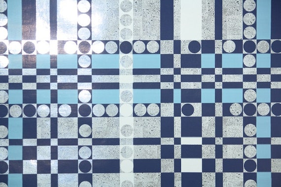 Retro Wallpaper by the Yard 70s Vintage Mylar Wallpaper - 1970s Navy Blue White and Silver Geometric Plaid with Circles