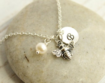 Sterling Silver Personalized Bee Necklace -- Choose Your Initial and Birthstone