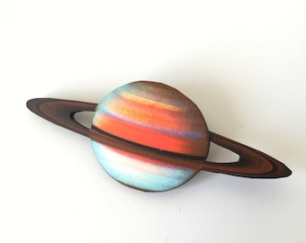 Saturn Space Planet Blue and Red with Rings Wooden Brooch Pin Birthday Gift Space Man Astronaut Astronomy Birthday Party Present Unique