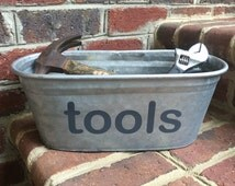 Tools Metal Storage Bucket, Gray